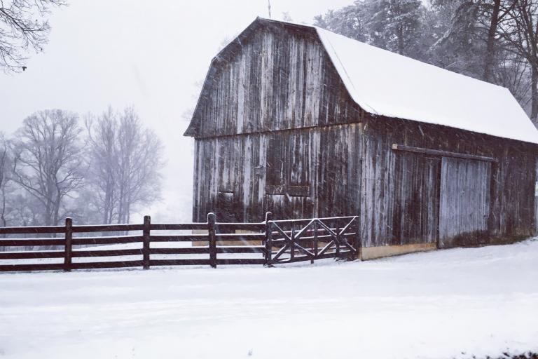 Barn blanketed in snow