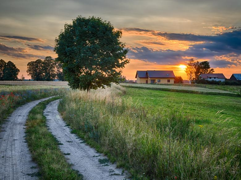 Gravel road leading to home at sunset